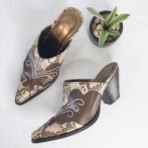Rampage Rilley bronze snake toe western mules